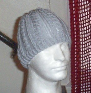 Hand Knit Mens Cabled Beanie in Light Grey Gray