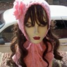 Hand Knit Ladies Pale Pink Coif & Buttoned Neckwarmer Ribbed Cowl Singer Standup