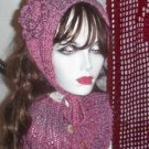 Hand Knit Ladies Misty Plum Coif  Buttoned Neckwarmer Cowl Ribbed Singer Standup