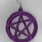 Hand Crochet Purple Pentacle Earrings Cotton