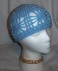 Hand Crochet Ladies Open Cloche Hat Light Blue Chemo Web Summer Beach Cruise