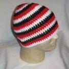Hand Crochet Triple Goddess Beanie - Male - White - Red - Black Made to Order