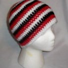 Hand Crochet Triple Goddess Beanie - Ladies - White - Red - Black