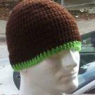 Hand Crochet ~ Men's Skull Cap Beanie Hat Brown/Lime