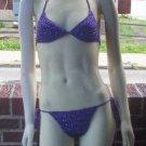 Hand Crochet Bikini DD Cup 1X Purple Bling Beach Vacation Cruise Spa Poolside