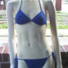 Hand Crochet Bikini B/C Cup Medium Royal Blu Beach Vacation Cruise Spa Poolside