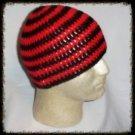 Hand Crochet - Mens Skull Cap Beanie Hat Skater Emo Goth - Red / Black Stripe