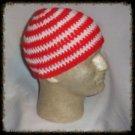 Hand Crochet - Mens Skull Cap Beanie Hat Skater Emo Goth - Red / White Stripe