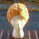 Hand Knit Slouchy Wheat Cabled Beret Rasta Hat Tam Snood Chemo Ladies