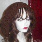Hand Crochet Oversized Slouchy Beret Rasta Snood Brown