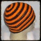 Hand Crochet - Mens Skull Cap Beanie Hat Skater Emo Goth Orange Black Stripe