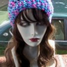 Hand Crochet Summer Slouchy Hat - Blues and Pinks Ready 2 Ship