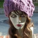 Hand Knit Oversized Slouchy Cabled Purple Beret Rasta Snood - Ready to Shi