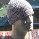 Hand Crochet Mens Cotton Skull Beanie Light Gray Grey