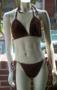 Hand Crochet Bikini ~ Small A/B Cup Brown So Sexy Beach Vacation Spa Cruise Pool