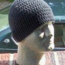 Hand Crochet Mens Cotton Skull Beanie Dark Gray Grey