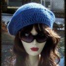 Hand Crochet Beret Rasta Snood Tam Blue Heather Chemo Wool Blend