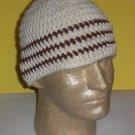 Hand Crochet ~ Men's Skull Cap Beanie Hat Ivory Brown Stripes Chemo Unisex