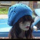 Hand Crochet Summer Oversized Slouchy Hat - Blue Beach Vacation Cruise