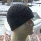 Hand Crochet Mens Cotton Skull Beanie Black Chemo Summer Celebrity