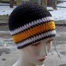 Hand Crochet ~ Steelers Beanie Black N Gold Steelers Ladies Pittsburgh