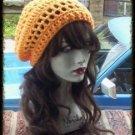 Hand Crochet Summer Slouchy Hat - Orange Sherbet Beach Vacation Cruise