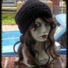 Hand Crochet Summer Slouchy Hat - Black Beach Vacation Cruise