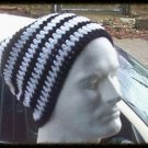 Hand Crochet - Mens Slouchy Beanie Hat Skater Emo Goth - Black White Stripe