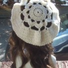 Hand Crochet Oversized Beret Rasta Snood Tam - Cream - Flower Motif
