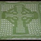 Hand Crochet Sage Celtic Cross Lace Panel Doily Altar Cloth Wall Made 2 Order
