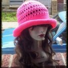 Hand Crochet - Ladies Rolled Brim Beach Hat - Hot Pink Made 2 Order