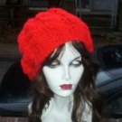 Hand Knit Oversized Slouchy Cabled Beret Rasta Snood Tam - Red