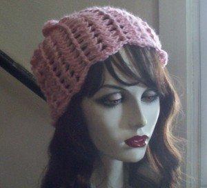 Hand Crochet ~ Ladies Skull Cap ~ Slouchy Pink Flower Petal Beanie Chemo Summer
