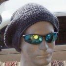Hand Crochet Men's Super Slouchy Beanie - Dark Grey  - Made 2 Order