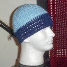 Hand Crochet Men's Beanie Hat Zac Brown Band 8 inch Lgt Blue Navy FREE US SHIP