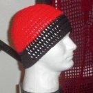 Hand Crochet Men's Beanie Hat Zac Brown Band - 8 inch - Red Black
