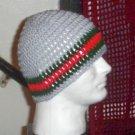 Hand Crochet ~ Men's Skull Cap Beanie Hat Light Gray