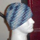 Hand Crochet ~ Skull Cap Beanie Dress Blues Camoflauge