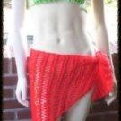 Hand Crochet Beach Coverup - Sarong - Hipscarf - Pareo Bikini Red