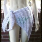Hand Crochet Beach Coverup - Sarong Hipscarf - Pareo Shawl Summer Vacation White
