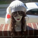 Hand Crochet Summer Super Slouchy Hat - White - Ready 2 Ship