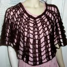 Hand Crochet Open Net Poncho - Daqrk Brown  One Size Fits Most