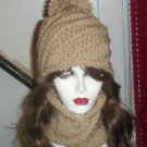 Hand Knit Spiral Hat and Cowl Set Tan PomPom