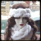 Hand Knit Cable Braided White Headband and Cowl Earwarmer