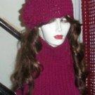 Hand Knit  Flowerd Hat and Cowl Boisenberry Burgandy