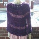 Hand Knit Purple Lacy Poncho