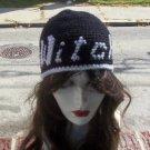 Hand Crochet Ladies Black Beanie WITCH