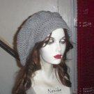 Hand Crochet Summer Super Slouchy Brimmed Hat -Light Gray