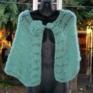 Hand Knit Sage Cape/Wrap/Shawl W/Flower and Button - One Size - Made 2 Order