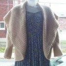 Hand Crochet Buff Colored Sweater Cardigan Boho Chic Plus Size 3X Cardi Jacket